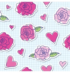 seamless pattern of roses and hearts vector image
