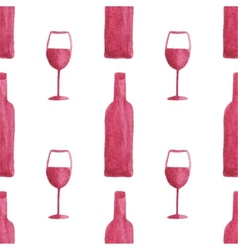 Seamless watercolor pattern with wine bottles and vector