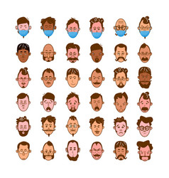 set avatars flat style colored men vector image