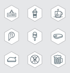 Set of 9 meal icons includes ale lolly soda and vector