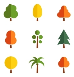 set of colorful trees vector image