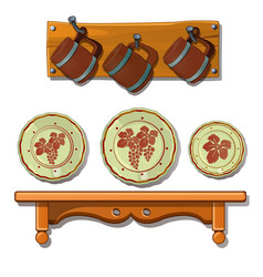 set old plates and mugs on shelves vector image