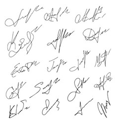 signatures set hand drawn vector image