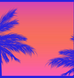 silhouettes palm trees on a gradient vector image