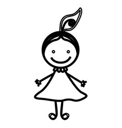 Sketch silhouette front view girl with hair tail vector