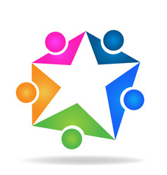 star shape and people team group icon vector image