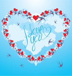 Swallows and hearts on sky background with clouds vector image