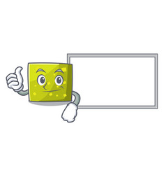 Thumbs up with board square character cartoon vector
