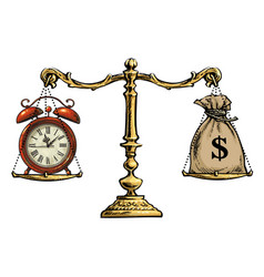 time is money concept sack dollars and pocket vector image