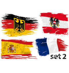 Torn flag germany austria spain and france vector