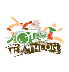 Triathlon race expressive stylized vector