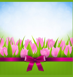 Tulip border card vector