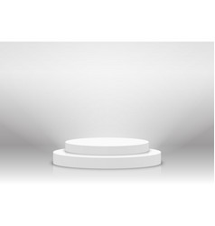 White 3d podium mockup in circle shape empty vector