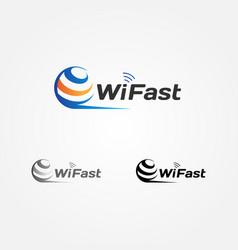 wireless internet globe logo sign symbol icon vector image