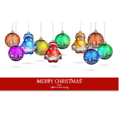 wonderful decorations on the christmas tree vector image