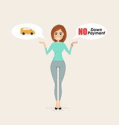 Young womanpretty girl with small car sign and vector