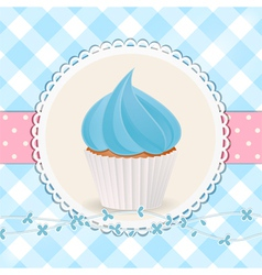 cupcake with blue icing on blue gingham background vector image vector image