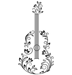 Guitar with floral details vector image