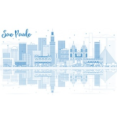 Outline Sao Paulo Skyline with Blue Buildings vector image
