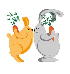 rabbits kiss vector image