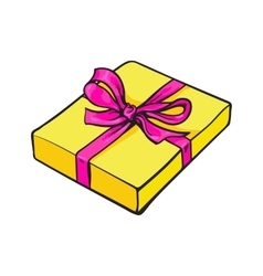 Red rectangular gift box with bow and ribbon vector image