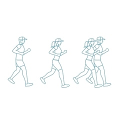 Run man and woman line icons vector image