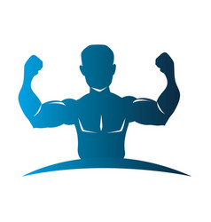 blue silhouette half body muscle man vector image