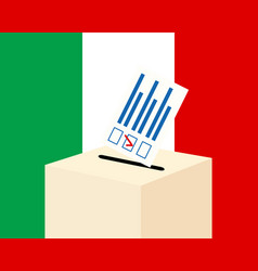 election in italy voting paper and a ballot box vector image