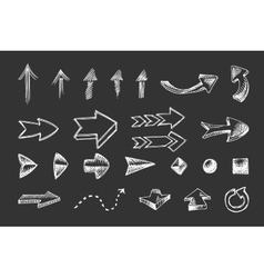 Hand drawn arrows icons set vector