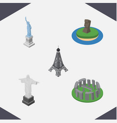 isometric cities set of england paris chile vector image