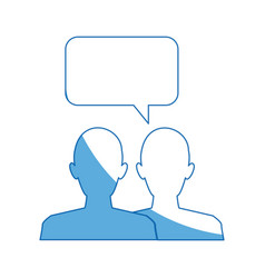 silhouette people speech bubble chat dialog vector image