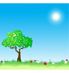 Spring Background with tree and flowers vector image vector image