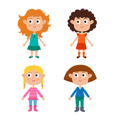 cartoon girls isolated on white characters set of vector image vector image
