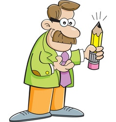 Cartoon teacher holding a pencil vector image