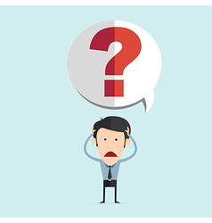 cartoon with bar question mark in flat de vector image vector image
