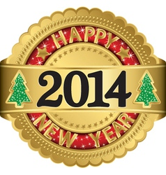 Happy new 2014 year gold label vector image