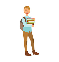 smiling student with school backpack holding vector image