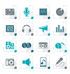 stylized music and audio equipment icons vector image