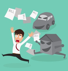 Businessman escape debt car house and bill vector image
