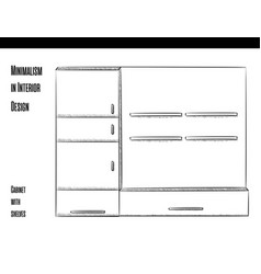 cabinet with shelves in a circuit on a white vector image vector image