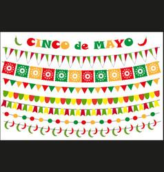cinco de mayo celebration set of colored flags vector image