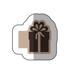 color emblem sticker box with bow ribbon icon vector image