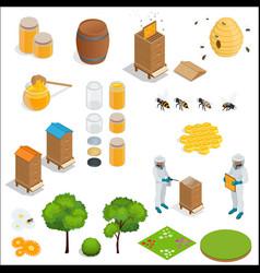 honey and beekeeping isometric design elements vector image