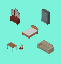 Isometric furnishing set of chair couch vector
