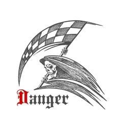 Skeleton or grim reaper with racing flag symbol vector image
