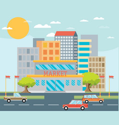 supermarket or local store and cityscape vector image vector image