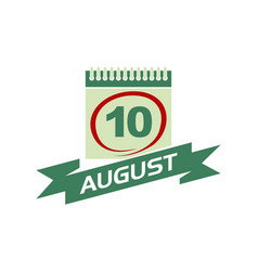 10 august calendar with ribbon vector