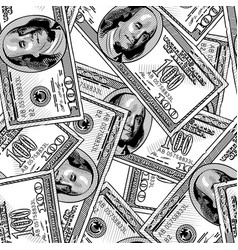 100 dollars bank notes seamless pattern background vector image