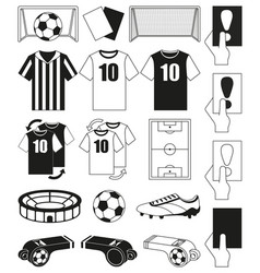 19 soccer elements black and white set vector image