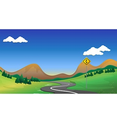 A road with a yellow signage vector